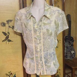 Jones wear vintage sheer beige floral top size 12
